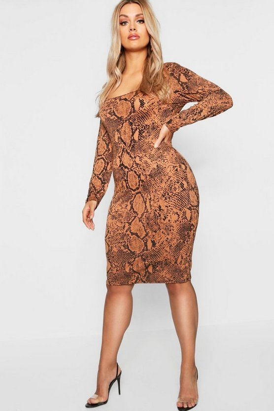 Plus Tan Snake Print Square Neck Bodycon Midi Dress