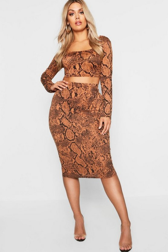 Plus Tan Snake Print Bodycon Midi Skirt
