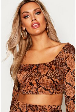 Womens Plus Tan Snakeprint Long Sleeve Crop