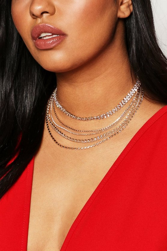 Womens Gold Plus Diamante Layered Choker