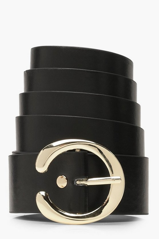 Womens Black Plus Horseshoe Buckle Belt