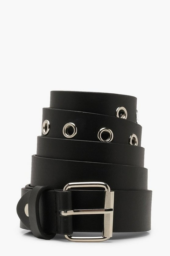 Womens Black Plus Eyelet Boyfriend Belt