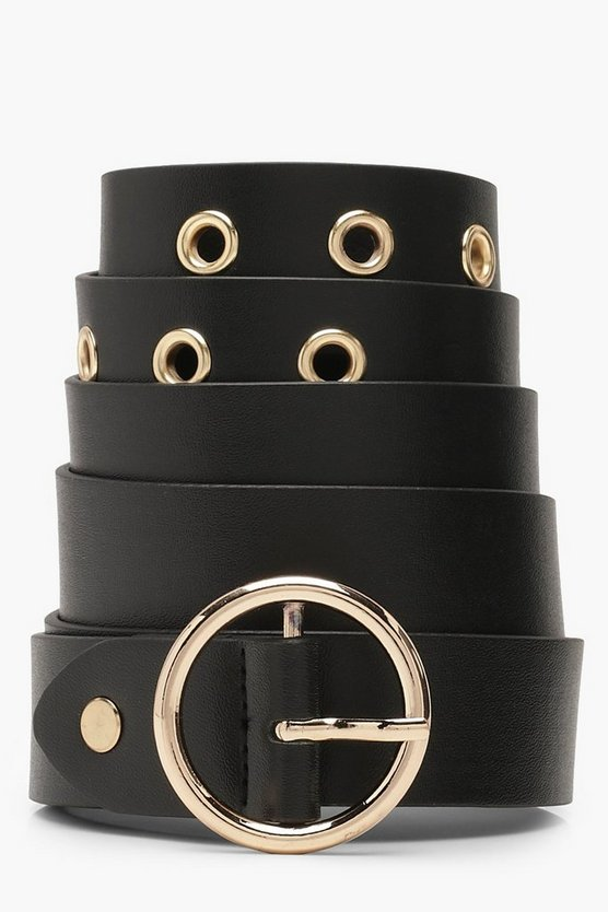 Plus Circle Buckle Eyelet Belt