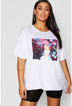 Womens White Plus Alice In Wonderland T Shirt