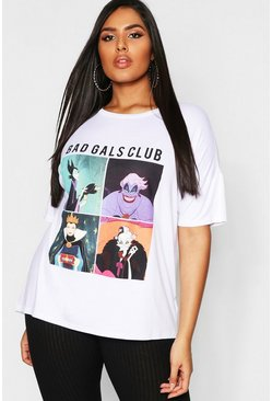 Plus Disney 'Bad Gals Club' T Shirt, White, Женские