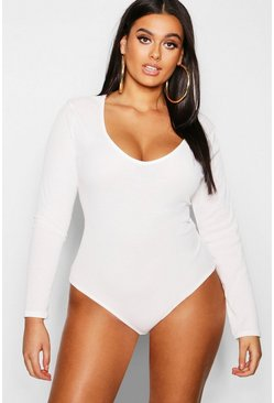 Womens White Plus Basic Plunge Rib Bodysuit