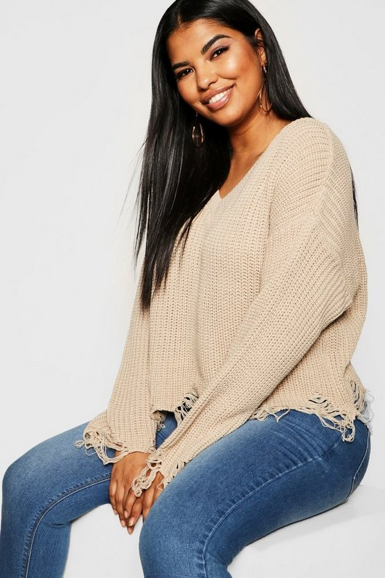 Plus Slouchy Raw Hem Jumper