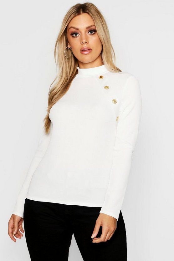 Womens Ivory Plus Gold Button Rib High Neck Sweater