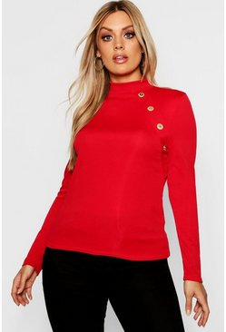 Womens Red Plus Gold Button Rib High Neck Jumper