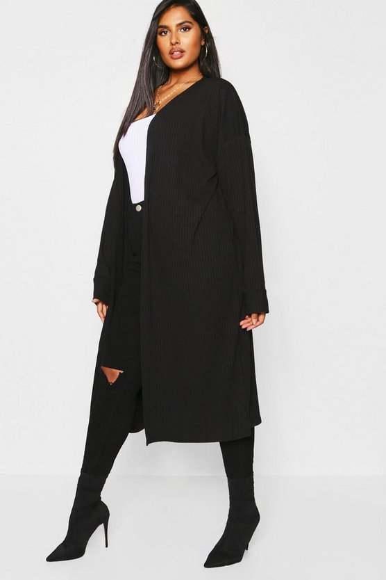 Womens Black Plus Rib Oversized Cocoon Cardigan