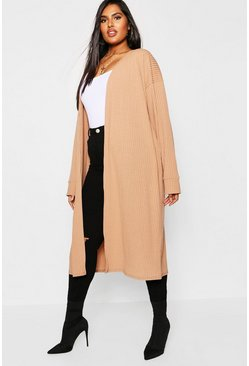 Womens Camel Plus Rib Oversized Cocoon Cardigan