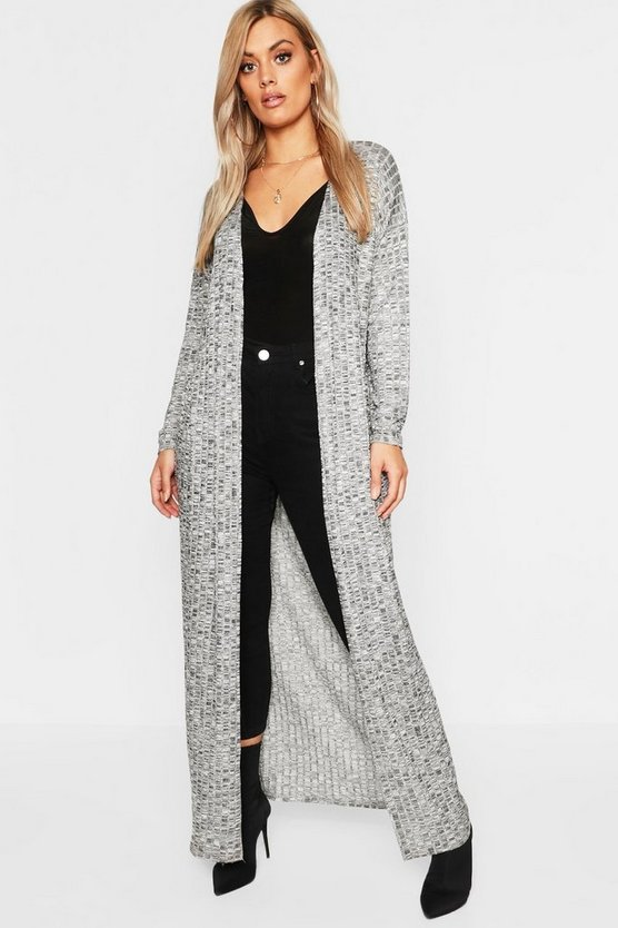 Womens Black Plus Soft Rib Maxi Cardigan
