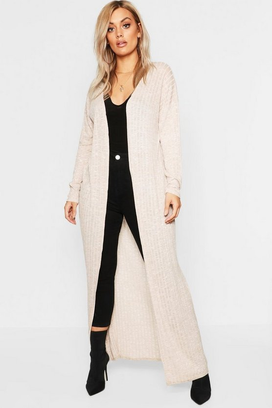 Plus Soft Rib Maxi Cardigan