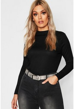 Womens Black Plus Rib Long Sleeve Crew Neck Top