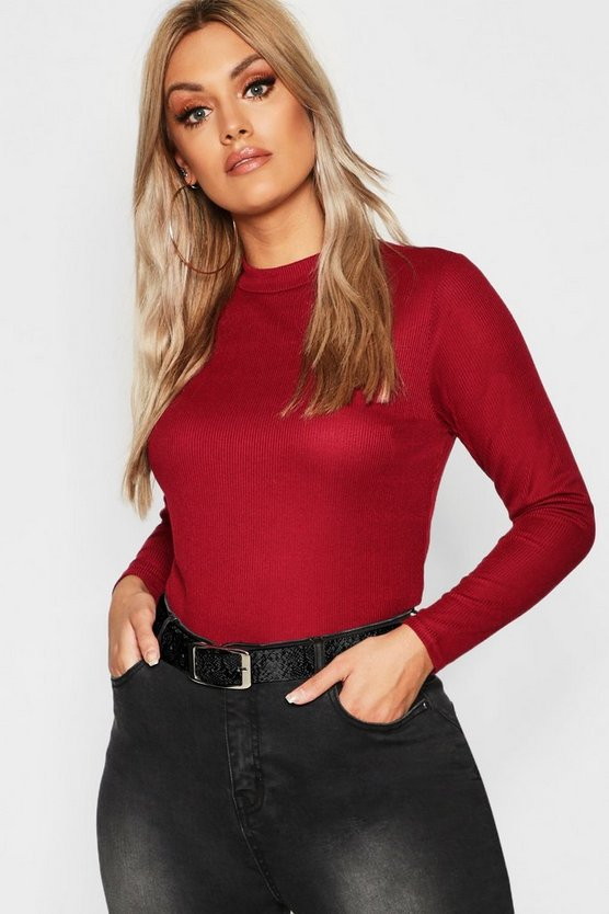 Plus Rib Long Sleeve Crew Neck Top