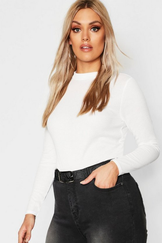 Cream Plus Rib Long Sleeve Crew Neck Top