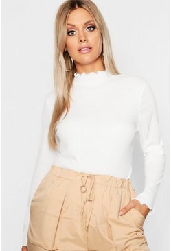 Womens Cream Plus Rib High Neck Lettuce Hem Jumper