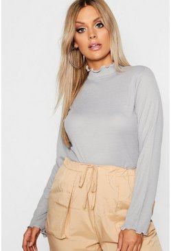 Grey Plus Rib High Neck Lettuce Hem Jumper