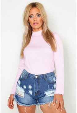 Pale pink Plus Rib High Neck Lettuce Hem Jumper