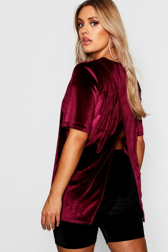 Plus Velvet Split Open Back T Shirt