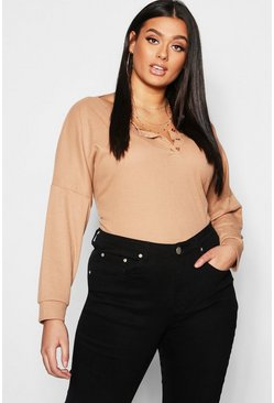 Womens Camel Plus Rib Button Oversized Top