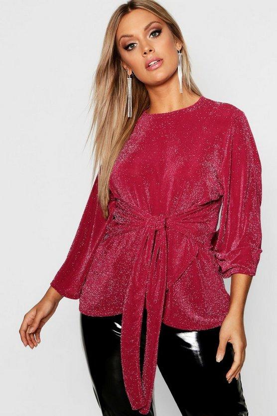 Plus Metallic Kimono Tie Waist Top