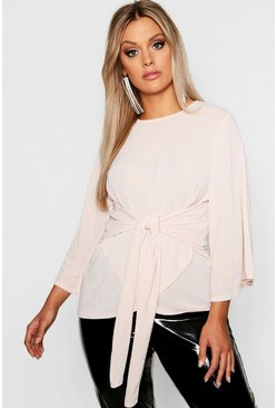 Womens Stone Plus Metallic Kimono Tie Waist Top