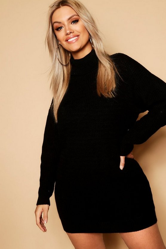 Plus Roll Neck Jumper Dress