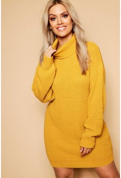 Mustard Plus Roll Neck Sweater Dress