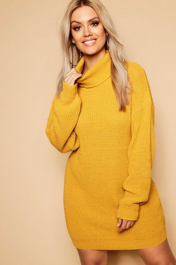 Womens Mustard Plus Roll Neck Jumper Dress