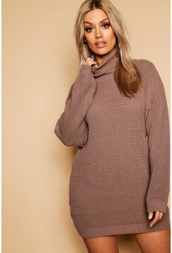 Womens Taupe Plus Roll Neck Jumper Dress
