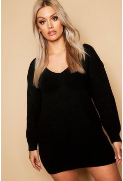 Womens Black Plus V Neck Sweater Dress