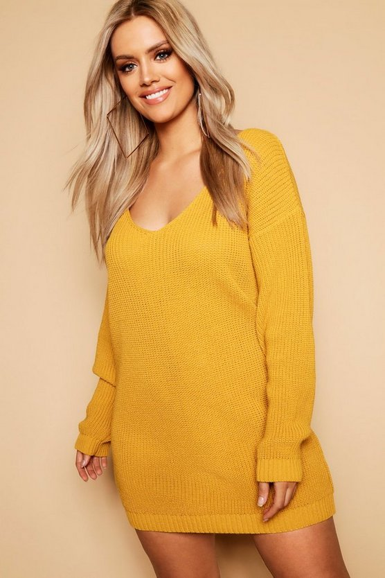 Plus V Neck Sweater Dress
