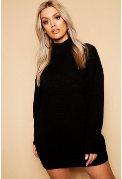 Womens Black Plus Roll Neck Jumper Dress