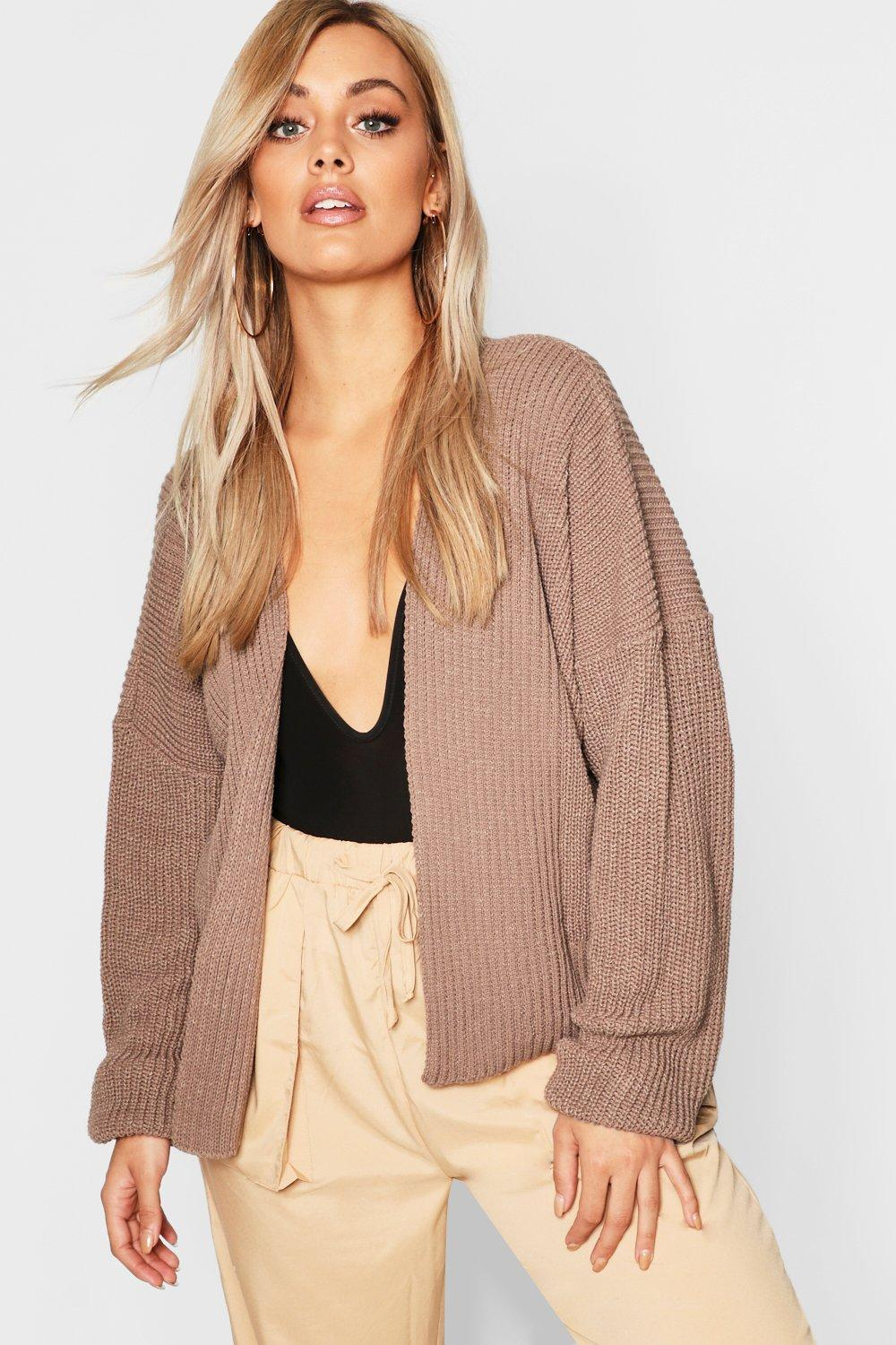 Plus Oversized Rib Crop Cardigan