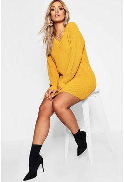 Womens Mustard Plus Rib V Neck Sweater Dress