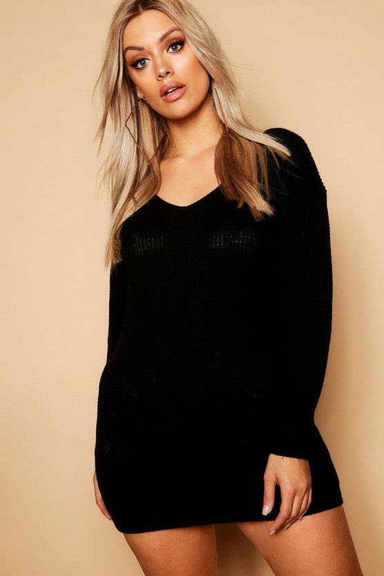 Black Plus V Neck Sweater Dress