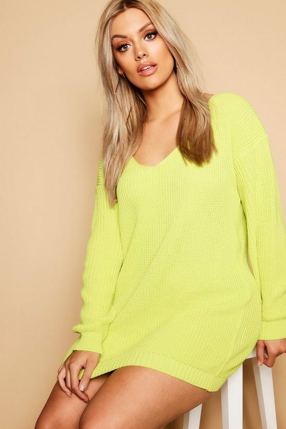 Lime Plus V Neck Sweater Dress