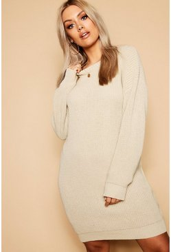 Womens Stone Plus Crew Neck Jumper Dress