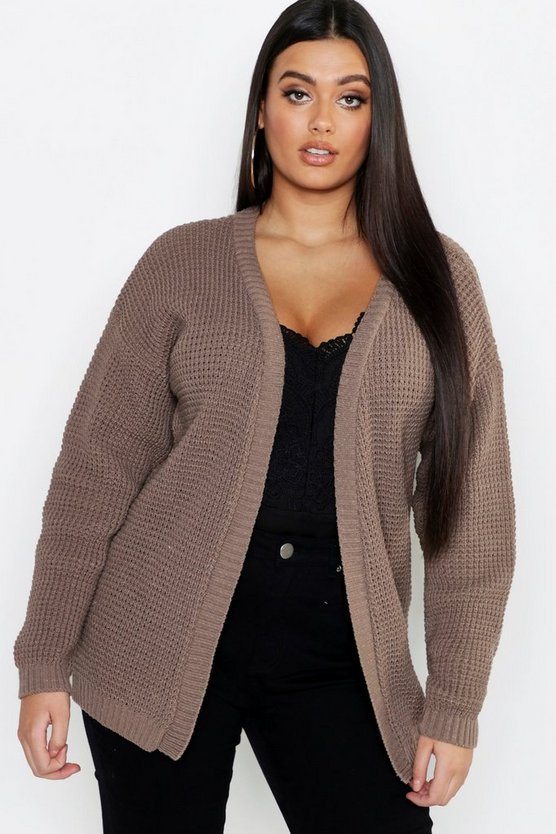 Womens Taupe Plus Edge To Edge Waffle Cardigan