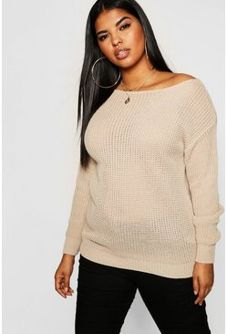 Womens Stone Plus Slash Neck Oversized Jumper
