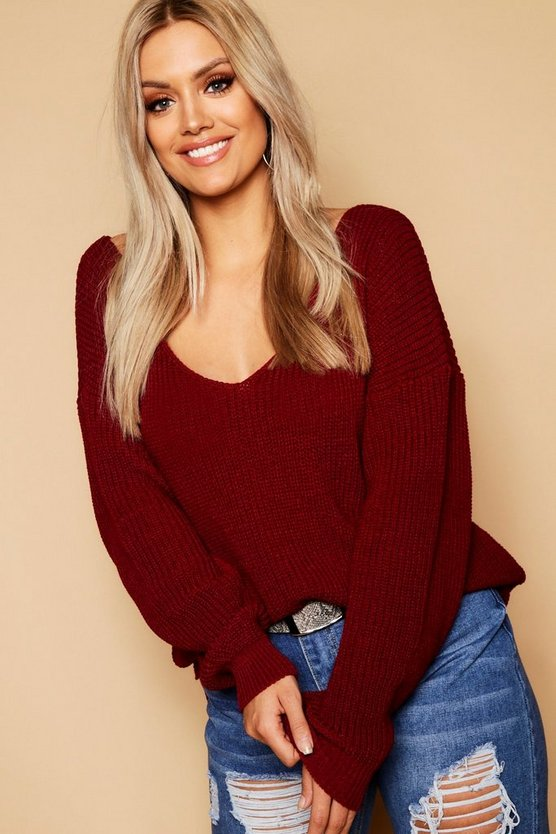 Burgundy Plus Oversized V Neck Jumper