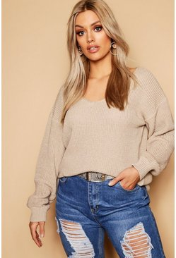 Womens Sand Plus Oversized V Neck Sweater