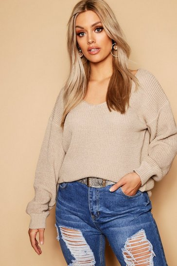 Womens Sand Plus Oversized V Neck Jumper