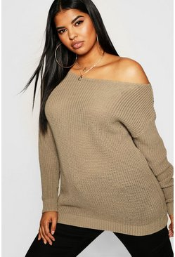 Womens Taupe Plus Slash Neck Fisherman Jumper