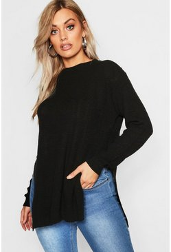 Womens Black Plus Side Split Moss Stitch Tunic Sweater