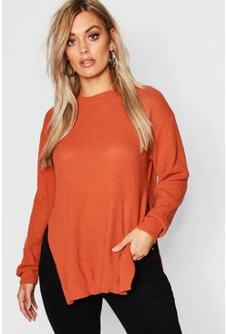 Chocolate Plus Side Split Moss Stitch Tunic Sweater