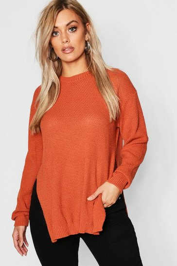 Chocolate Plus Side Split Moss Stitch Tunic Jumper