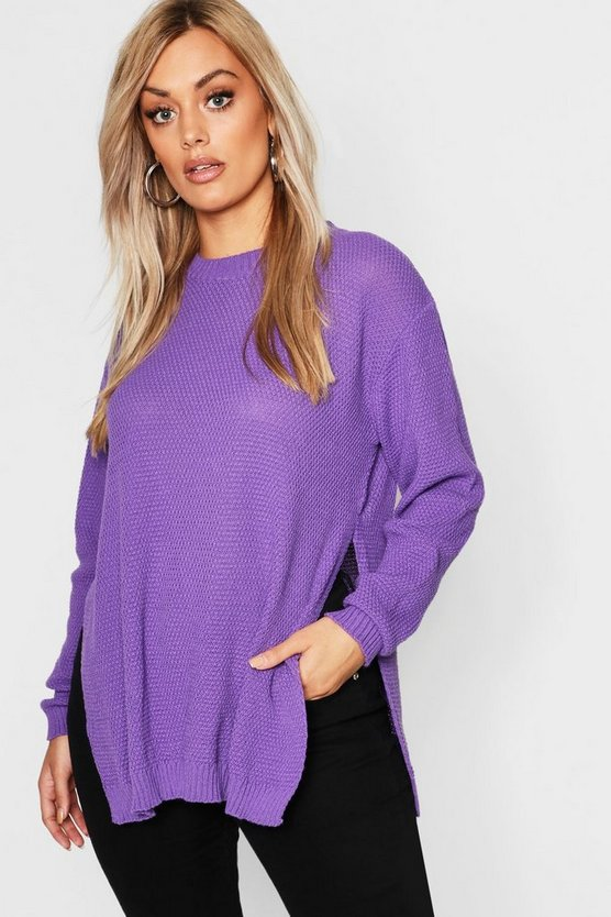 Plus Side Split Moss Stitch Tunic Jumper
