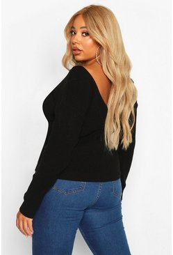 Womens Black Plus V Back Oversized Jumper
